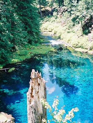 Blue Pool and its outlet from the top of (dry) Tamolitch Falls